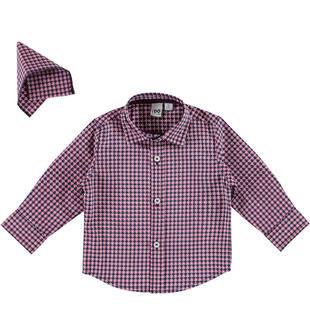 Camicia fantasia cerchi con pochette ido BIANCO-BLU-6EP1