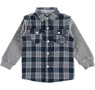 Camicia in twill 100% cotone a quadri ido NAVY-3856