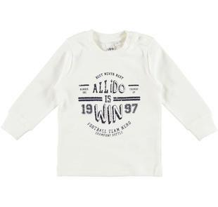 Maglietta girocollo stampa tema sportivo 100% cotone ido PANNA-0112