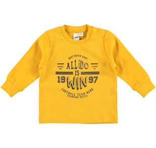Maglietta girocollo stampa tema sportivo 100% cotone ido GIALLO-1615