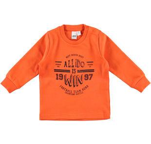 Maglietta girocollo stampa tema sportivo 100% cotone ido ARANCIO-1828