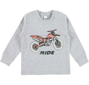 Maglietta stampa moto da corsa ido GRIGIO MELANGE-8992