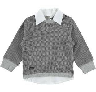 Maglietta in felpa con inserto camicia ido GRIGIO-0567