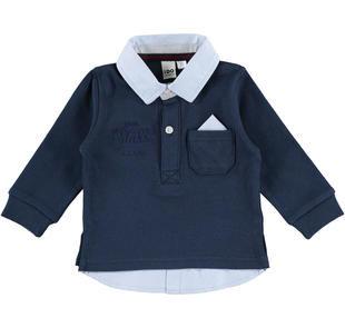 Polo 100% cotone con moderno inserto camicia e pochette ido NAVY-3856