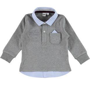 Polo 100% cotone con moderno inserto camicia e pochette ido GRIGIO MELANGE-8970