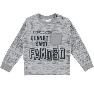 Maglietta stampata all over fantasia astratta con simpatica scritta ido GRIGIO-GRIGIO-6ET4