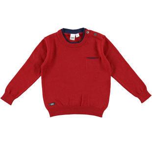 Maglia in tricot con girocollo doppiato e taschino laterale ido ROSSO-2536