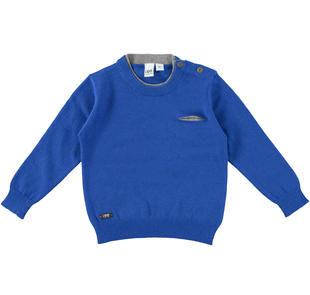 Maglia in tricot con girocollo doppiato e taschino laterale ido ROYAL-3754