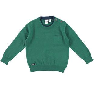 Maglia in tricot con girocollo doppiato e taschino laterale ido VERDE-4554