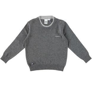 Maglia in tricot con girocollo doppiato e taschino laterale ido GRIGIO MELANGE SCURO-8994