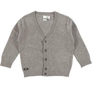 Cardigan in tricot misto cotone e lana con effetto toppa sul gomito ido GRIGIO MELANGE-8970