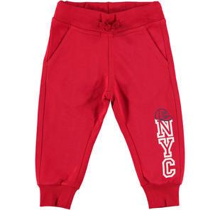 Comodo pantalone in felpa tema sportivo ido ROSSO-2253