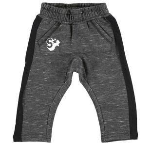 Comodo pantalone bambino in felpa garzata con tasca a marsupio ido NERO-0658