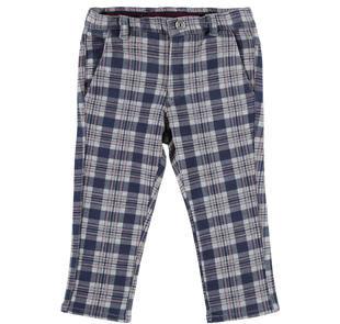 Elegante pantalone con fantasia a quadri in felpa ido GRIGIO-BLU-6EN9