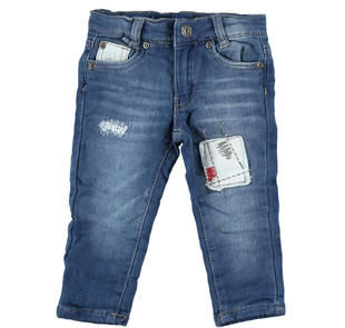 Pantalone slim fit in felpa denim effetto delavato ido NAVY-7775