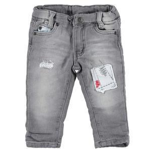 Pantalone slim fit in felpa denim effetto delavato ido NERO-7991