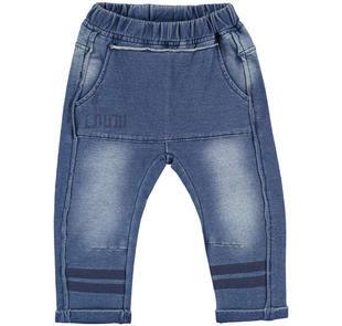 Pantalone in felpa denim con sabbiature modello cavallo basso ido STONE WASHED-7450