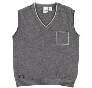 Gilet in tricot misto cotone e lana ido GRIGIO MELANGE SCURO-8994