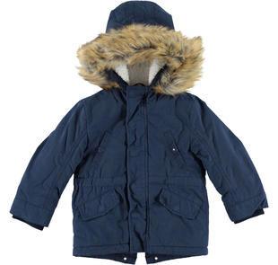 Giubbotto parka invernale con cappuccio rifinito in eco pelliccia ido NAVY-3856