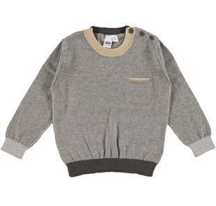 Morbida maglia con taschino laterale e toppe ido GRIGIO MELANGE-8970