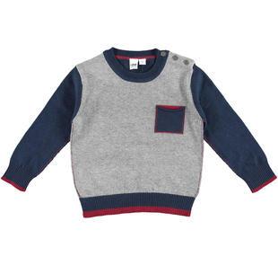 Maglia in tricot con toppe sui gomiti ido GRIGIO MELANGE-8970