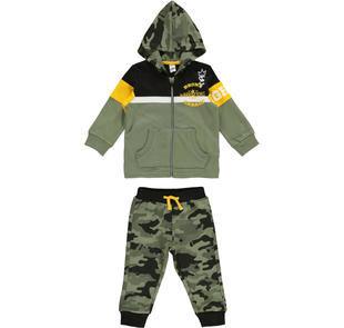 Tuta bambino in jersey pesante con cappuccio e pantalone mimetico ido VERDE-VERDE-8081