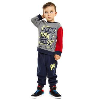 Perfetta per l'autunno questa tuta bambino in jersey ido GRIGIO-BLU-8008