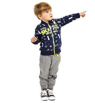 Tuta in felpa garzata internamente con giacchetto e pantaloni ido BLU-GRIGIO-8299