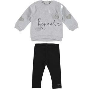 Completo con maxi maglietta con cuori ricamati e leggings ido GRIGIO-NERO-8067