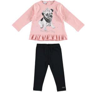 Completo bambina con leggings e maglietta ido ROSA-NERO-8213