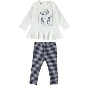 Completo bambina con maglietta in cotone interlock con balza godet ido PANNA-BLU-8132