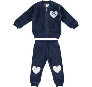 Tuta bambina in morbida ciniglia con pantalone con toppe a cuore ido NAVY-3854