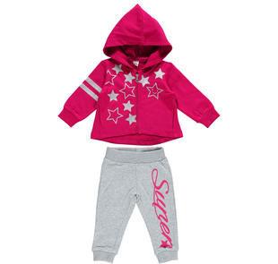 Tuta bambina in cotone garzato con giacchetto zip ido FUXIA-GRIGIO-8065