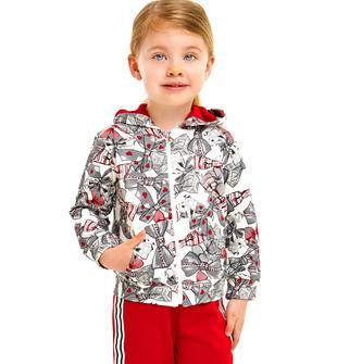 Tuta in cotone garzato con giacchetto con zip stampato all over ido PANNA-ROSSO-8135