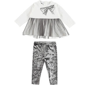 Elegante completo formato da maxi maglietta con inserto in tulle e leggings in ciniglia ido PANNA-GRIGIO-8131