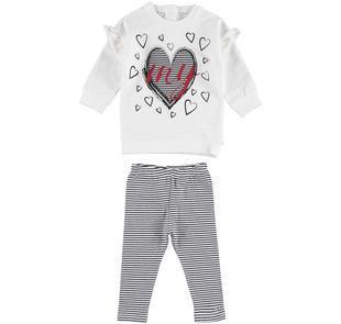 Completo leggings e maxi maglia con cuori e ruches ido PANNA -NERO-8206