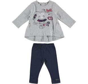 Delizioso completo in jersey maxi maglietta e leggings ido GRIGIO-BLU-8225