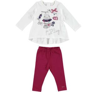Delizioso completo in jersey maxi maglietta e leggings ido PANNA-BORDEAUX-8344