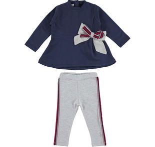 Comodo e trendy completo bambina con maglietta con maxi fiocco ido BLU-GRIGIO-8299