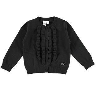 Cardigan scaldacuore in tricot misto viscosa con ruches frontali ido NERO-0658