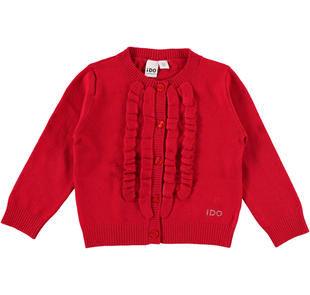 Cardigan scaldacuore in tricot misto viscosa con ruches frontali ido ROSSO-2253