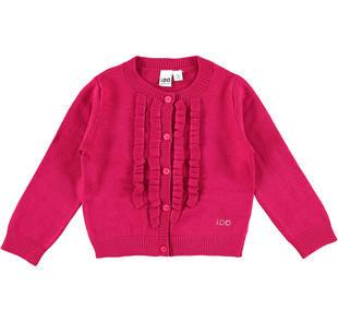 Cardigan scaldacuore in tricot misto viscosa con ruches frontali ido FUXIA-5830