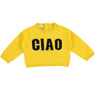 Morbida e versatile maglia bambina in tricot misto cotone e lana ido GIALLO-1433