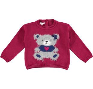 Deliziosa maglia bambina in tricot misto cotone e lana ido SANGRIA SCURO-2655