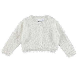 Cardigan corto in speciale tricot effetto pelliccia ido PANNA-0112