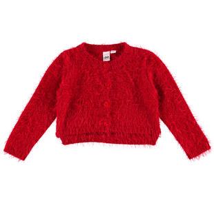 Cardigan corto in speciale tricot effetto pelliccia ido ROSSO-2253