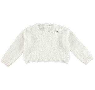 Maglia corta effetto pelliccia in tricot lurex ido PANNA-0112