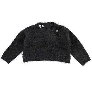 Maglia corta effetto pelliccia in tricot lurex ido NERO-0658