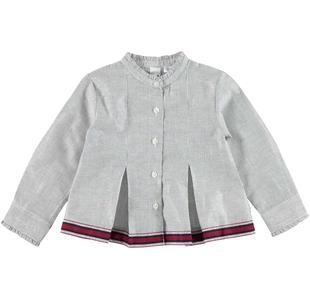 Camicia in raffinato tessuto rigato con collo alla coreana ido BLU-ARGENTO-8403