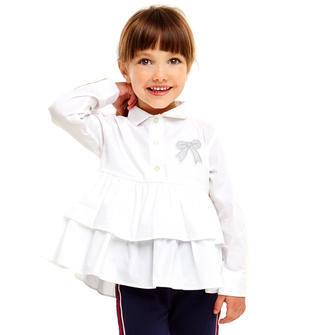 Maxi camicia per bambina in popeline stretch di cotone ido BIANCO-0113